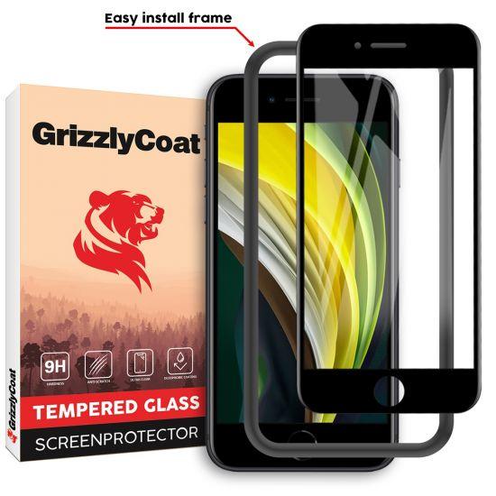 GrizzlyCoat Case Friendly + Installatie Frame Gehard Glas Screenprotector voor de iPhone SE (2020) / 8 / 7 / 6(s)