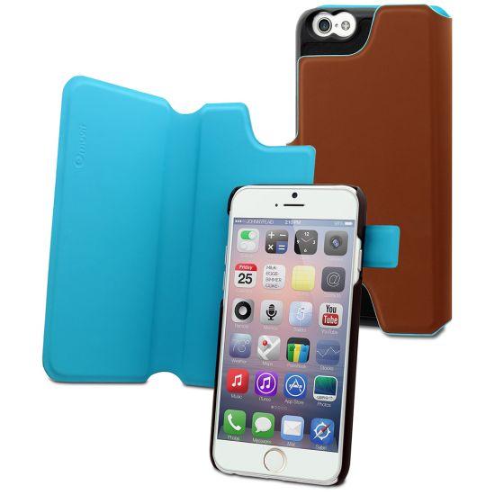 Muvit Magic Reverso Bookcase voor de iPhone 6(s) Plus - Bruin / Turquoise