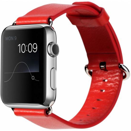Rock Leren Bandje voor de Apple Watch 44mm / 42mm - Rood