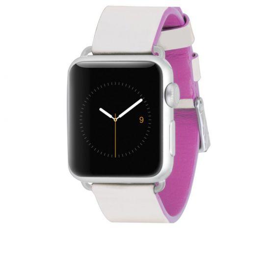 Case Mate Edged Strap Leren Bandje voor de Apple Watch 40mm / 38mm - Wit / Roze
