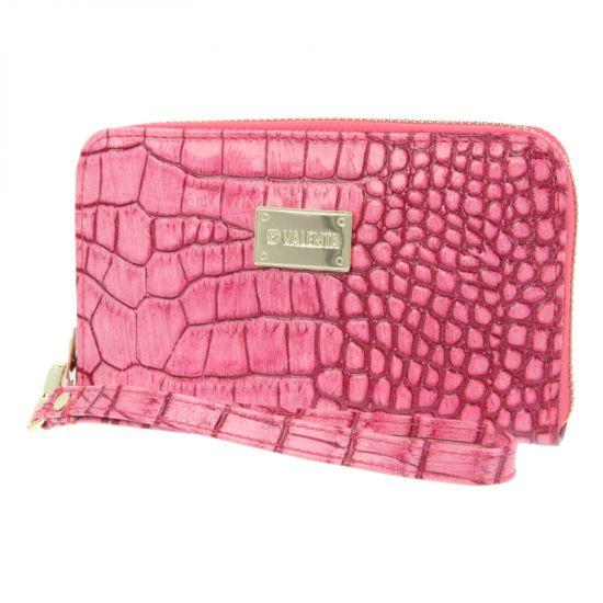 Valenta Luxury Handbag Leren Clutch Universeel - Pink Animal Glam