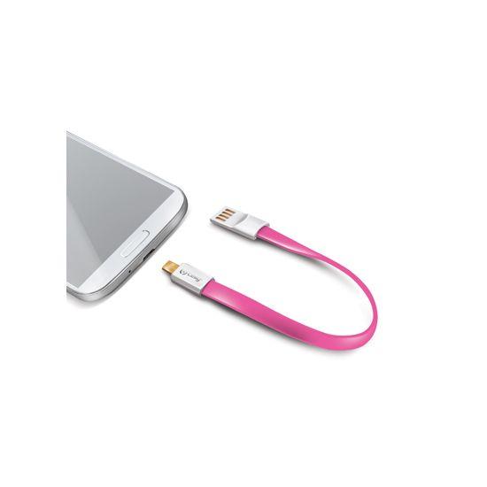 Celly Sleutelhanger USB-A naar Micro USB Kabel 2 Meter - Roze