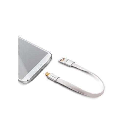Celly Sleutelhanger USB-A naar Micro USB Kabel 2 Meter - Wit