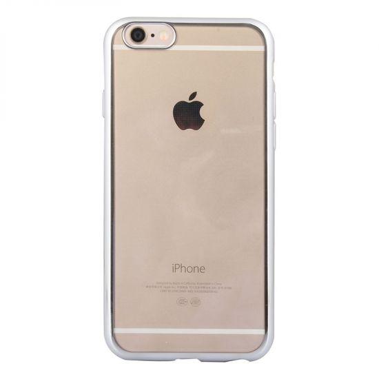 Mobigear Royal TPU Backcover voor de iPhone 6(s) - Transparant / Zilver