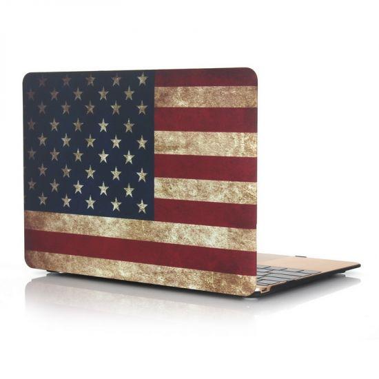 Mobigear Design Case voor de MacBook 12 inch - Vintage Amerikaanse vlag