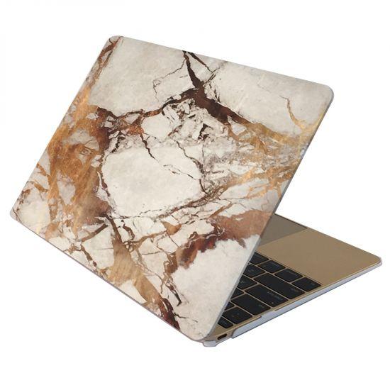 Mobigear Marmer Case voor de MacBook 12 inch - Wit / Bruin