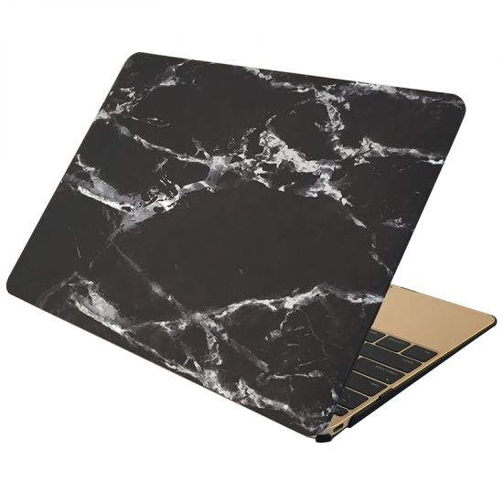 Mobigear Marmer Case voor de MacBook 12 inch - Zwart