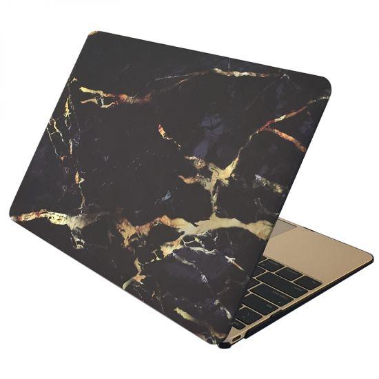 Mobigear Marmer Case voor de MacBook 12 inch - Zwart / Goud
