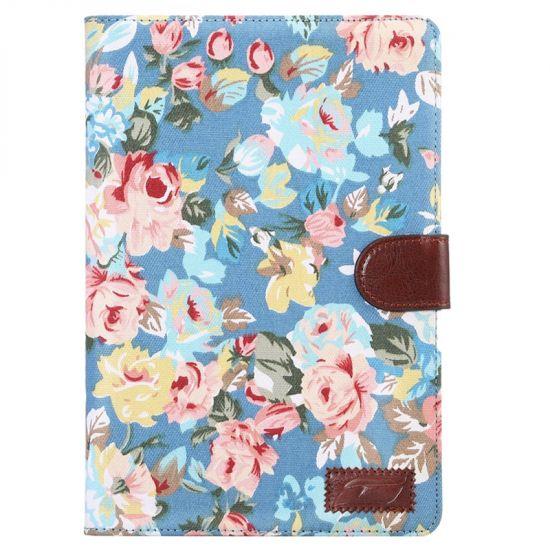 Mobigear Folio Katoen Bookcase voor de iPad Mini 4 (2015) - Blauw Bloemen