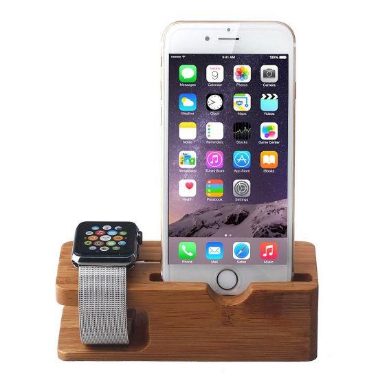 Mobigear Wooden Docking Station voor de Apple iPhone / Watch - Bamboe
