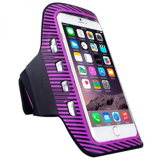 Mobigear LED Neopreen Sportarmband voor de iPhone 6(s) Plus - Paars