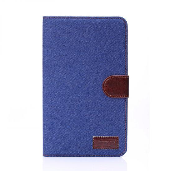 Mobigear Denim Katoen Bookcase voor de Samsung Galaxy Tab 4 7.0 - Donkerblauw