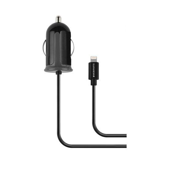 Mobiparts Autolader Apple Lightning 1 Meter 2.4A - Zwart