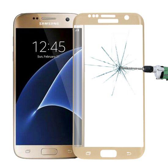 Mobigear Edge To Edge Gehard Glas Screenprotector voor de Samsung Galaxy S7 Edge - Goud