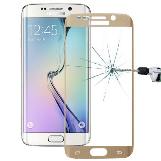 Mobigear Edge To Edge Gehard Glas Screenprotector voor de Samsung Galaxy S6 Edge - Goud
